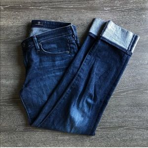 Ag Adriano Goldschmied Jeans - AG Stevie Dark Wash Cuff Jeans